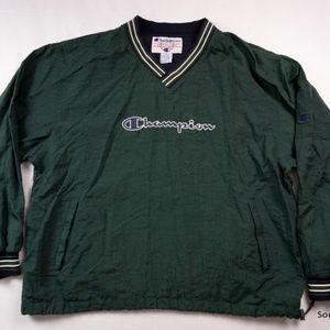 VTG 90s Champion Spellout Windbreaker Pullover XL
